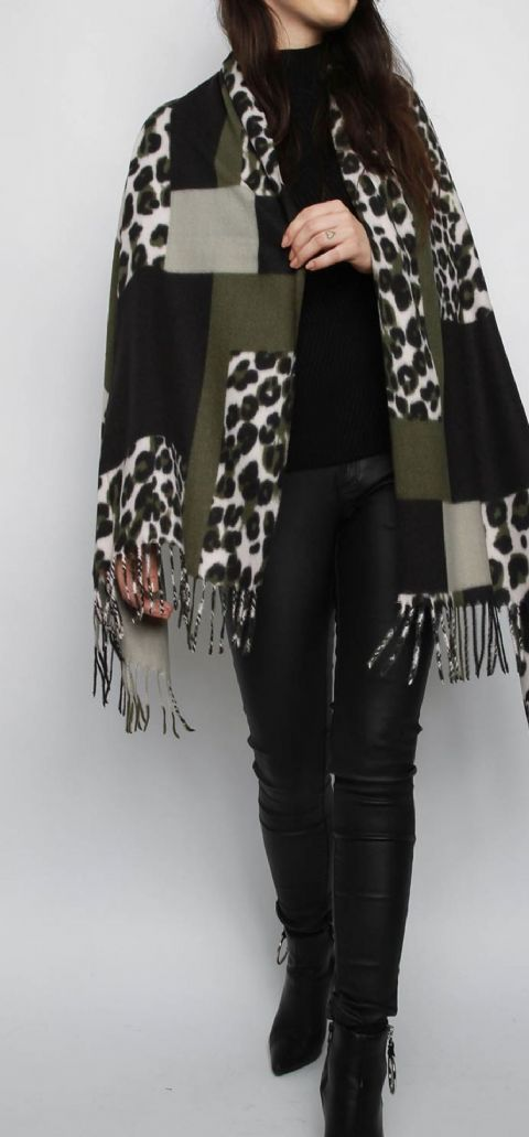 Animal Print Cashmere Scarf Green
